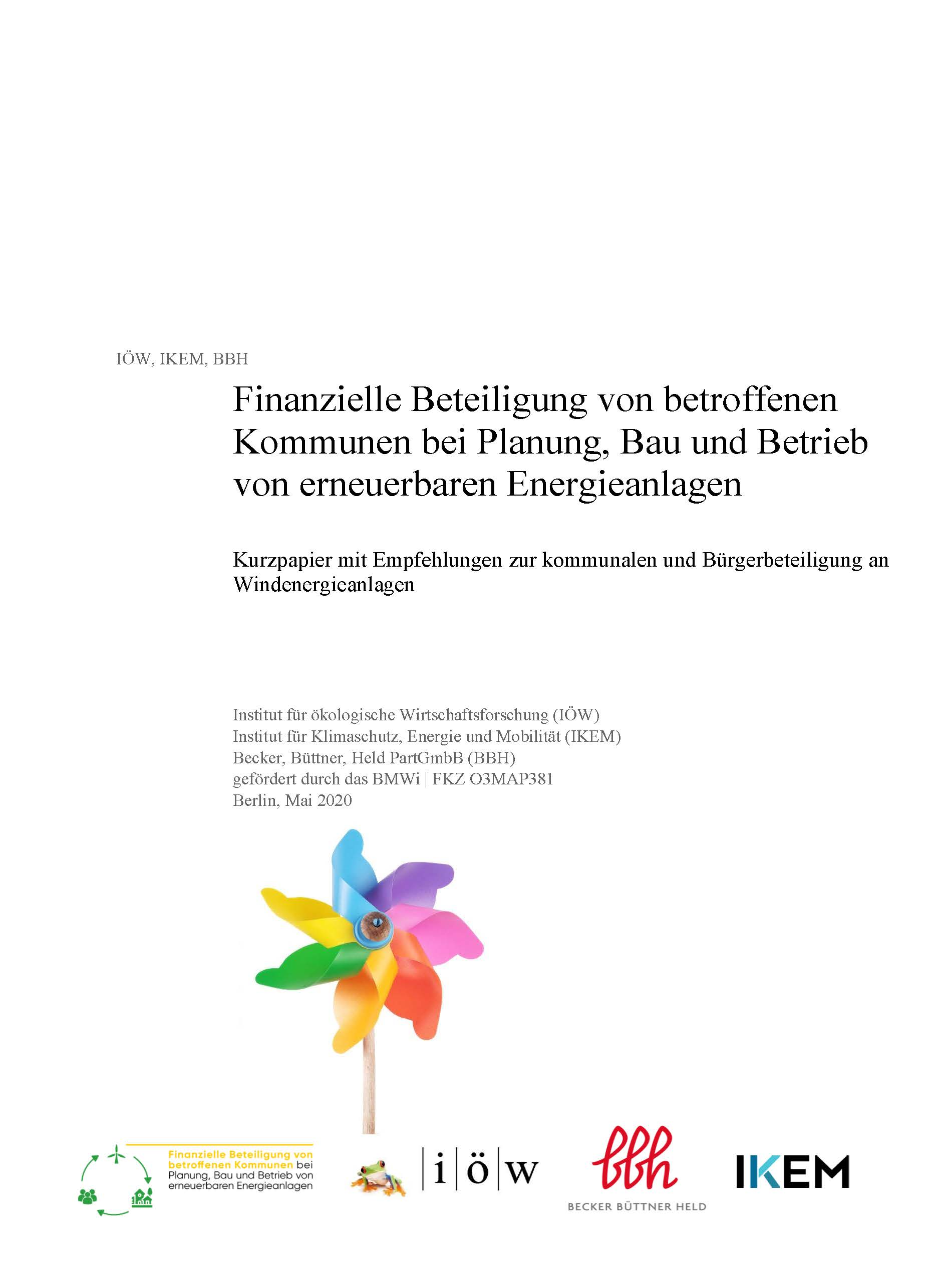 Financial participation of affected municipalities in the planning, construction and operation of renewable energy systems