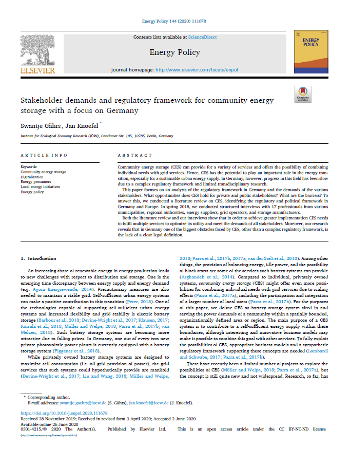 Stakeholder demands and regulatory framework for community energy storage with a focus on Germany