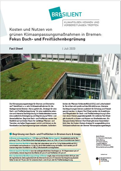 Costs and benefits of green climate adaption measures in Bremen: greening roofs and open spaces