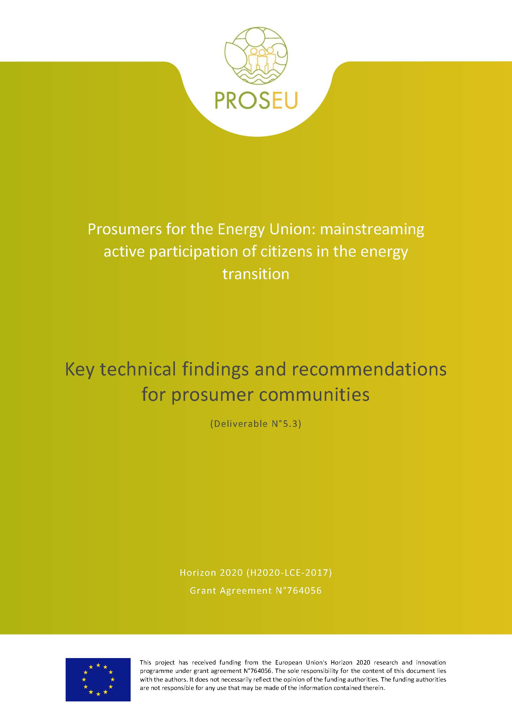 Key technical findings and recommendations for prosumer communities