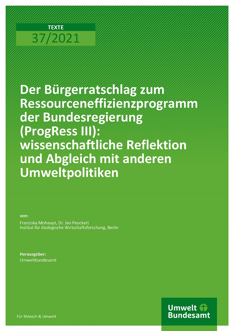 The Citizens' Consultation on the German Federal Government's Resource Efficiency Programme (ProgRess III): scientific reflection and comparison with other environmental policies